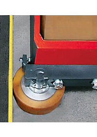 Position of forward guide roller in front of load wheel