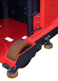 Added center mounted guide roller reduces stress on rail system when entering aisle